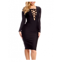 Plunging Neck Long Sleeve Bodycon Dress For Women - Black
